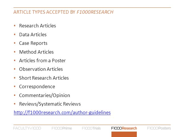 Article types accepted by F1000Research