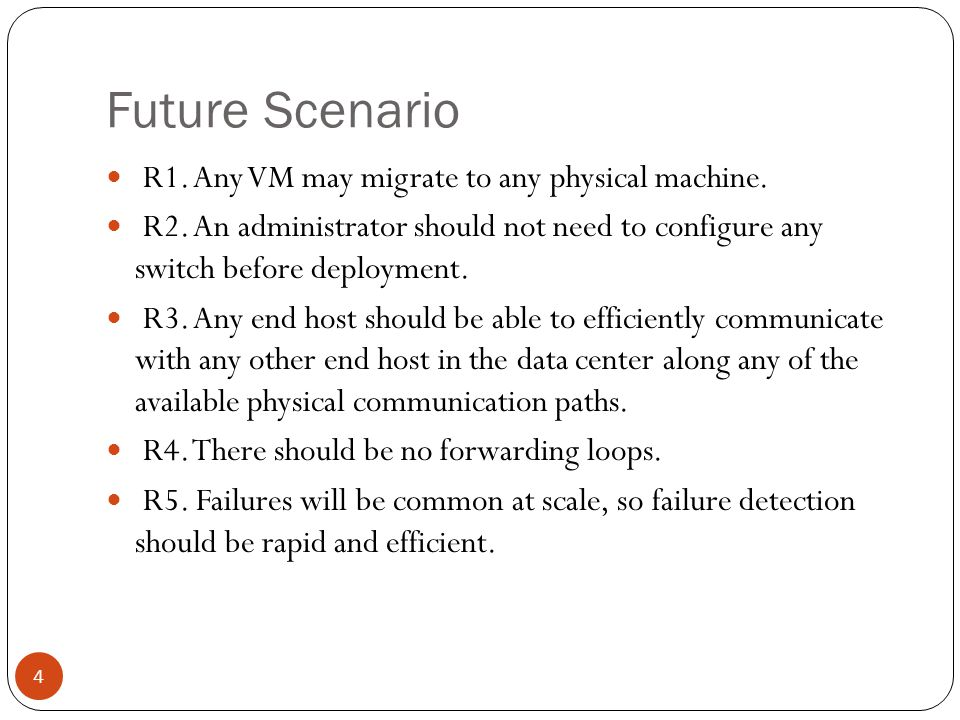 Future Scenario R1. Any VM may migrate to any physical machine.
