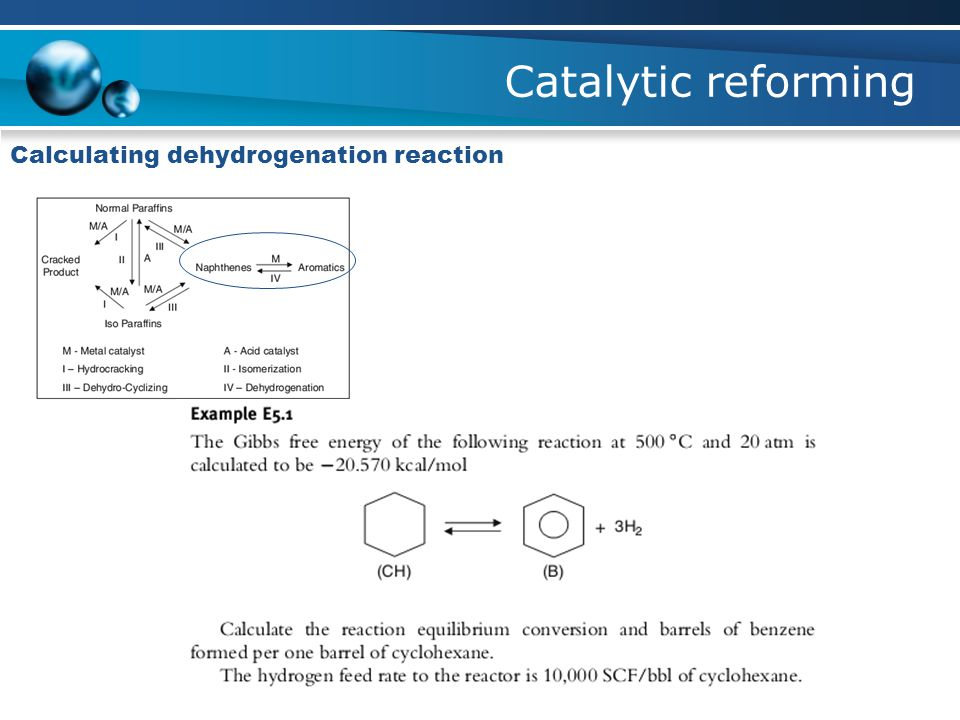 Catalytic reforming Calculating dehydrogenation reaction