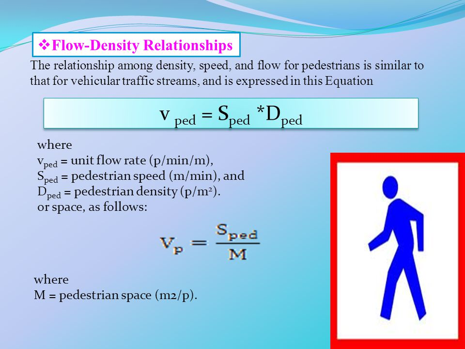v ped = Sped *Dped Flow-Density Relationships