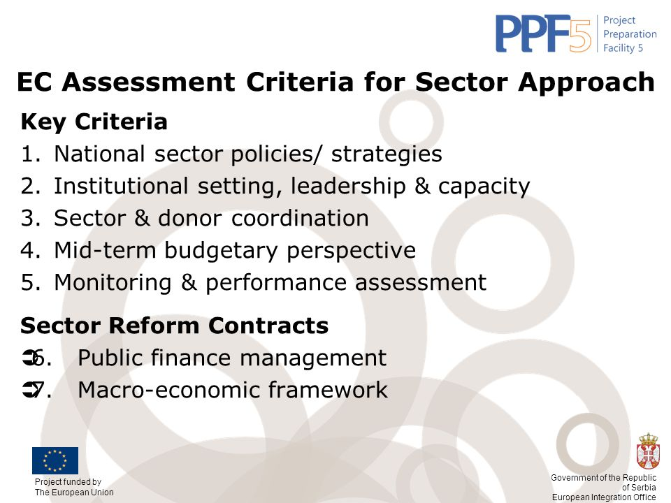 EC Assessment Criteria for Sector Approach