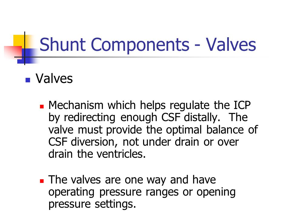 Shunt Components - Valves