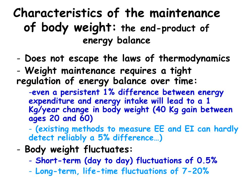 Characteristics of the maintenance of body weight: the end-product of energy balance