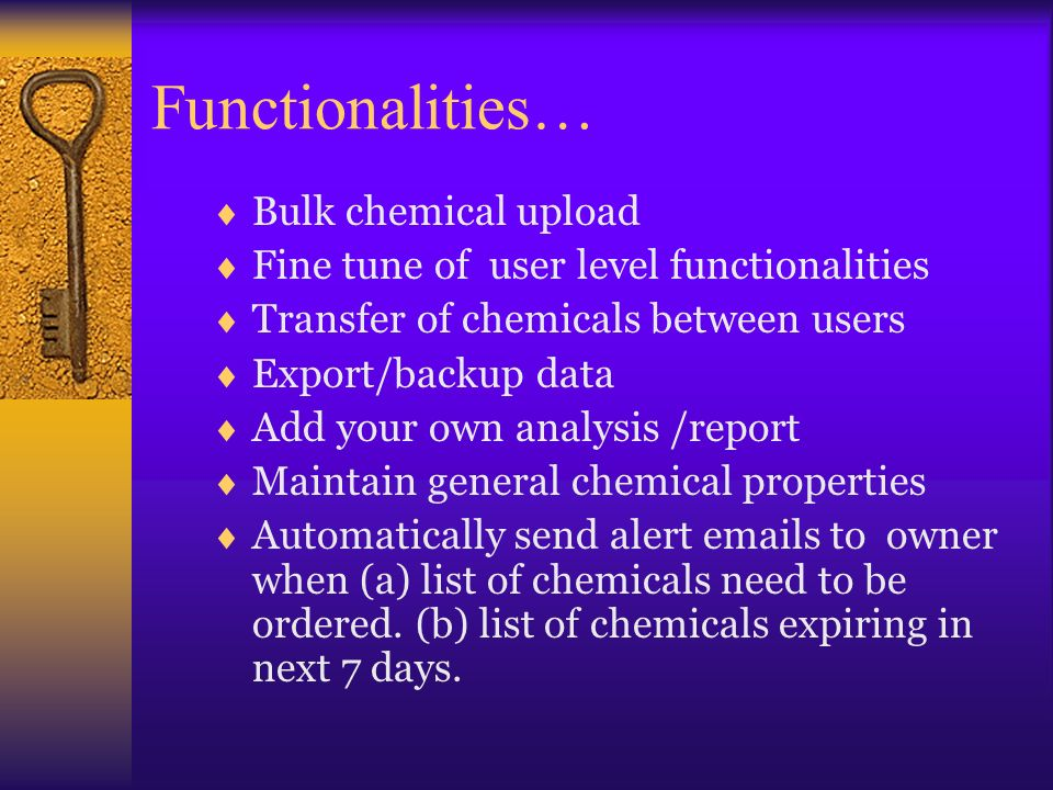 Functionalities… Bulk chemical upload