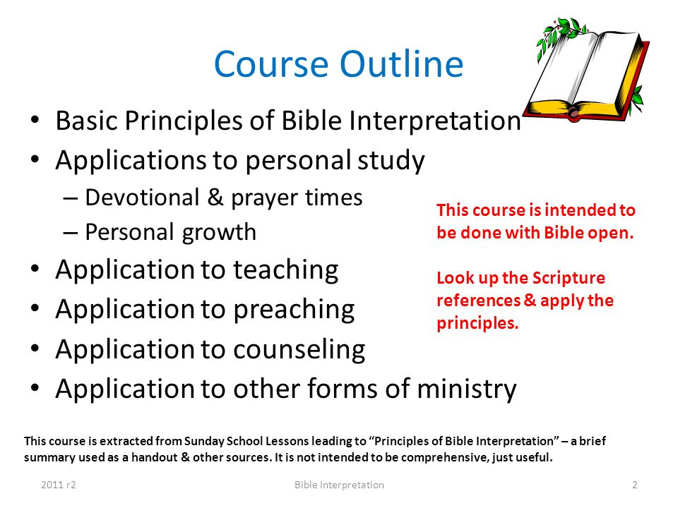 Course Outline Basic Principles of Bible Interpretation