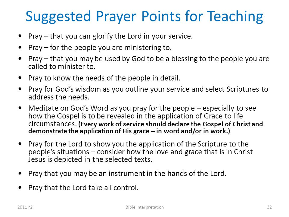 Suggested Prayer Points for Teaching