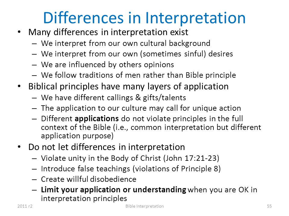 Differences in Interpretation