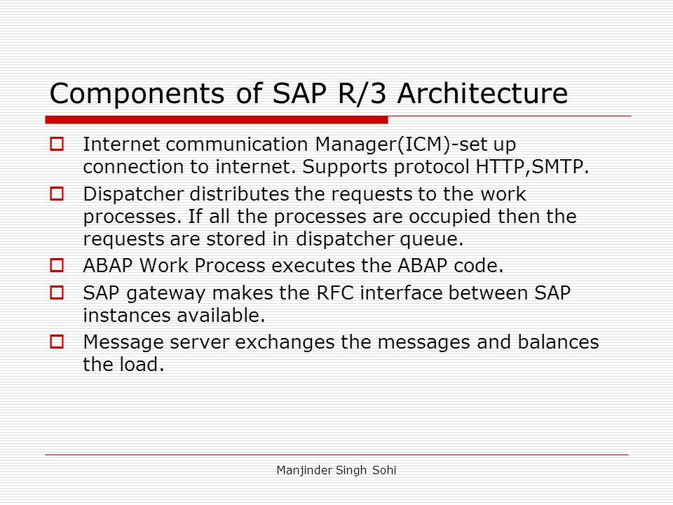 Components of SAP R/3 Architecture