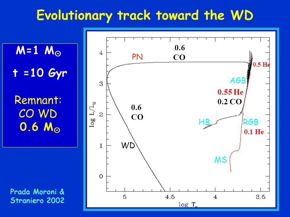 Evolutionary track toward the WD
