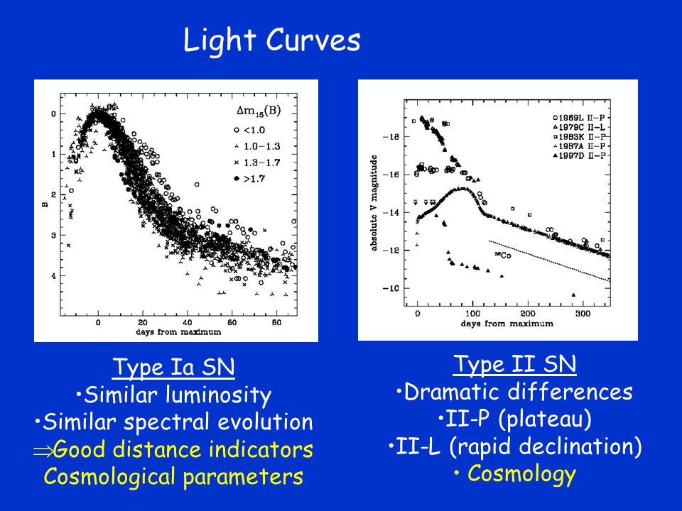 Light Curves Type II SN Type Ia SN Dramatic differences