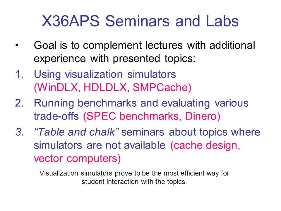 X36APS Seminars and Labs Goal is to complement lectures with additional experience with presented topics: