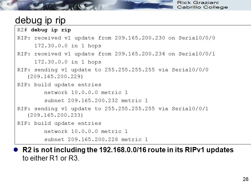 debug ip rip R2# debug ip rip. RIP: received v1 update from 209.165.200.230 on Serial0/0/0. 172.30.0.0 in 1 hops.