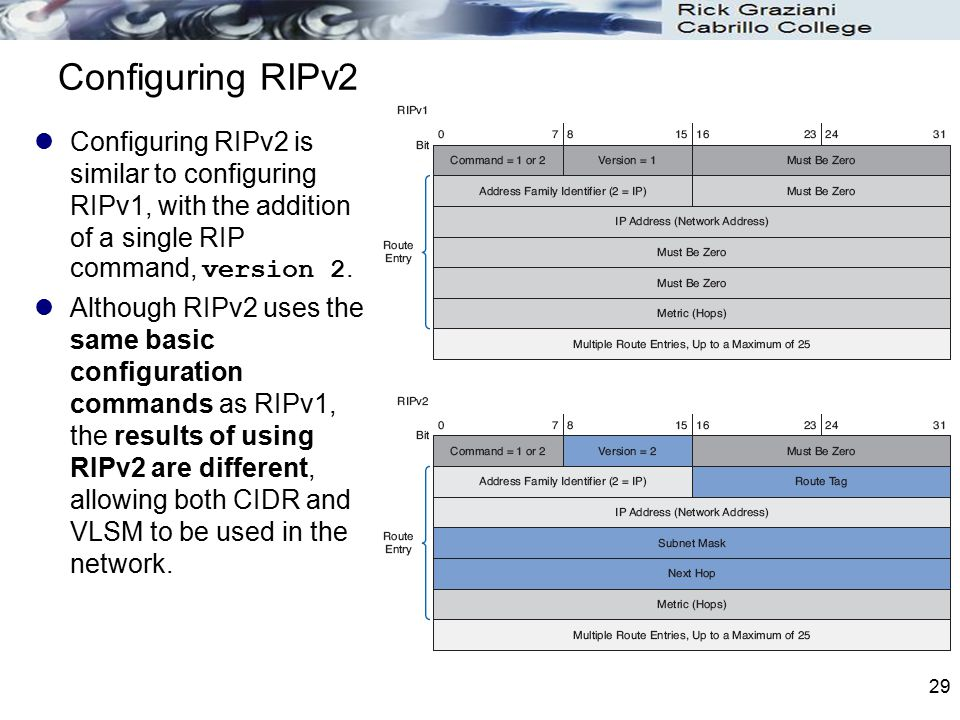 Configuring RIPv2 Configuring RIPv2 is similar to configuring RIPv1, with the addition of a single RIP command, version 2.