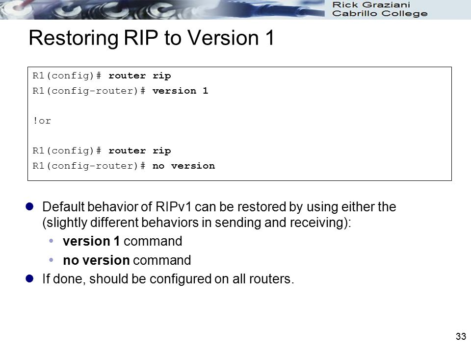 Restoring RIP to Version 1
