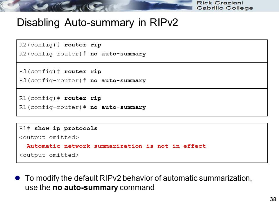 Disabling Auto-summary in RIPv2