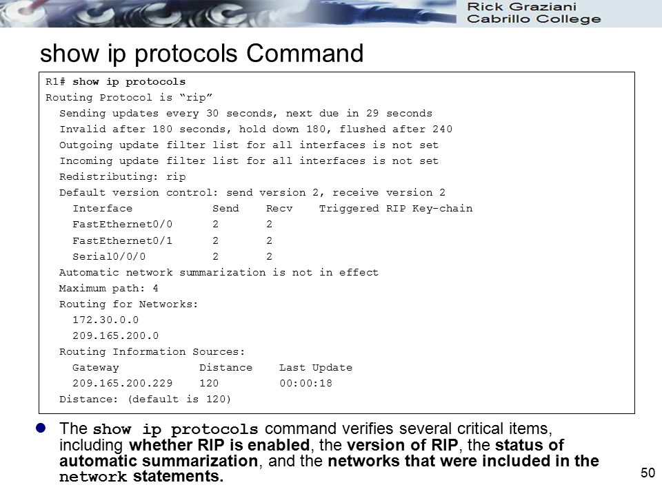 show ip protocols Command