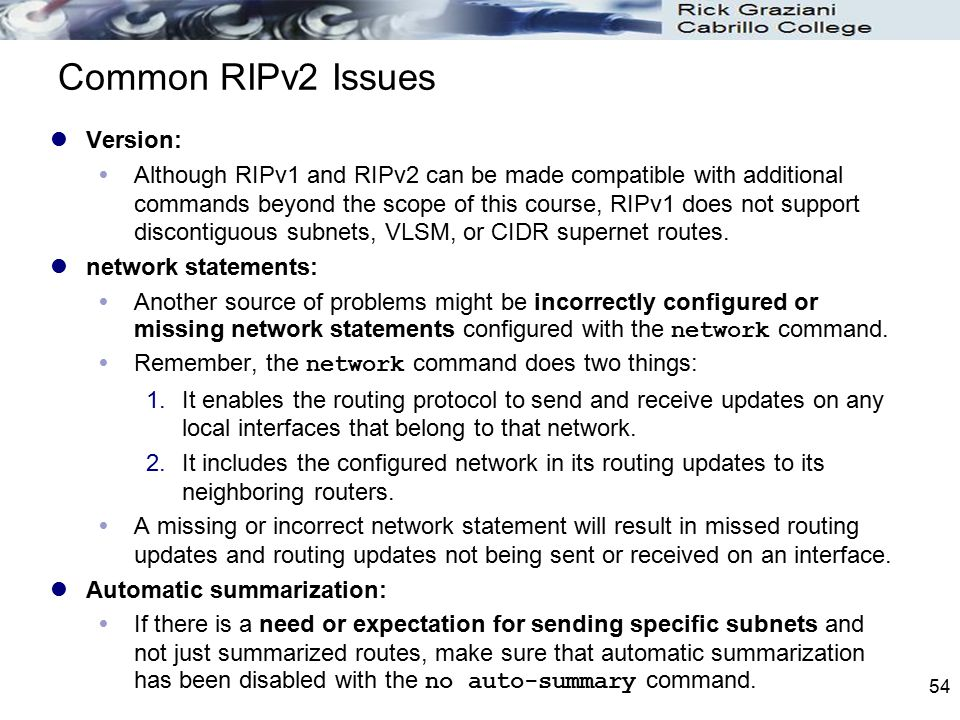 Common RIPv2 Issues Version: