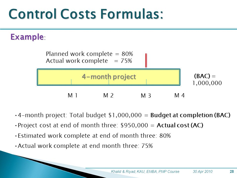 formulating cost schedule and performance alternatives The schedule variance (sv) of negative $9955 and the schedule performance index (spi) of 062 tell him that he is behind schedule in adding value to the project (figure 127) during the project, the manager can evaluate the schedule using the schedule variance (sv) and the schedule performance index (spi), and the budget using the cost.