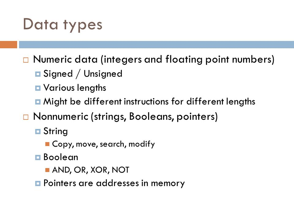 Data types Numeric data (integers and floating point numbers)