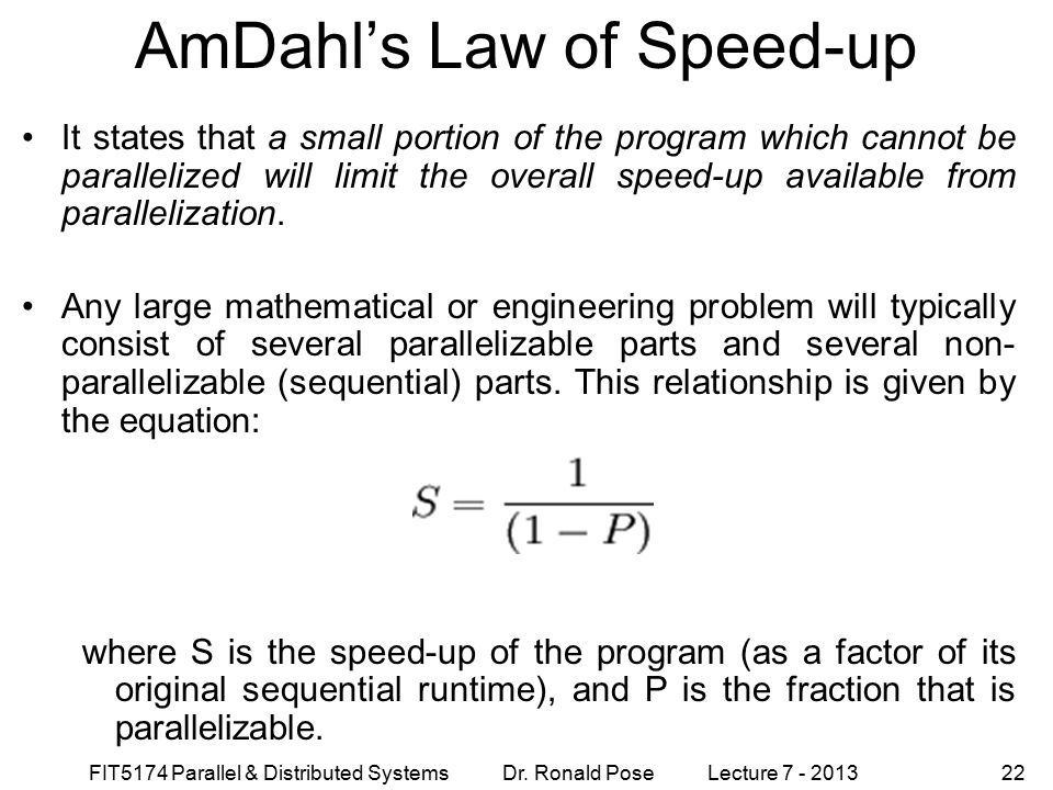 AmDahl's Law of Speed-up