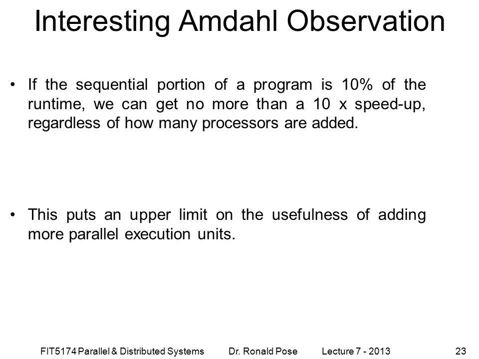 Interesting Amdahl Observation