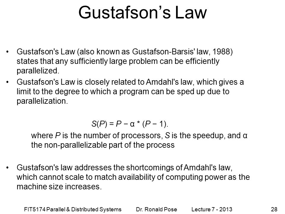 Gustafson's Law September 4, 1997.