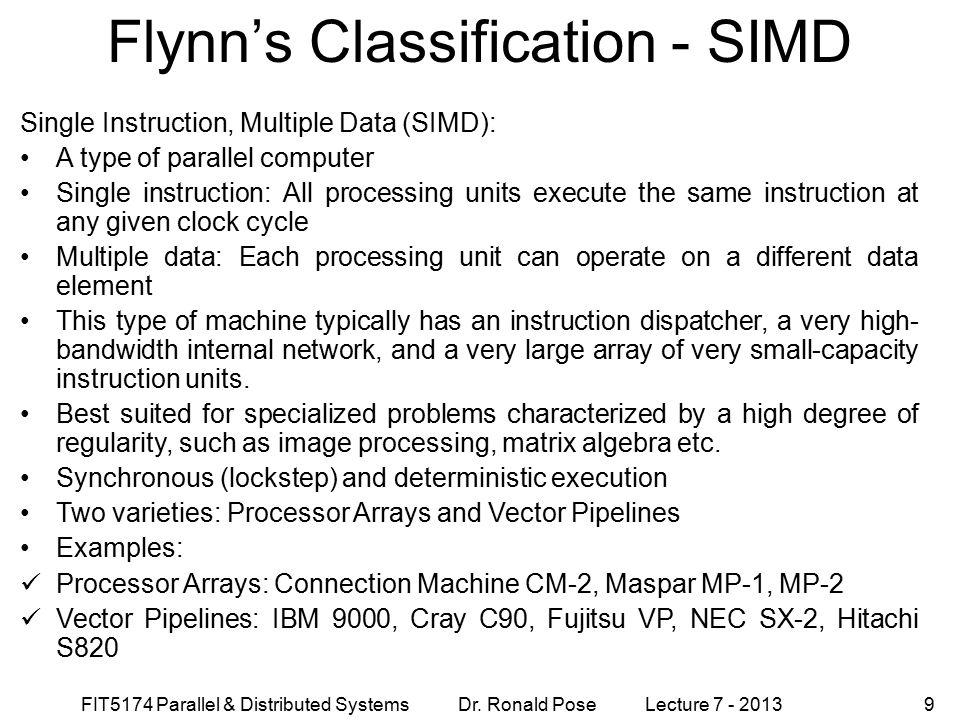 Flynn's Classification - SIMD