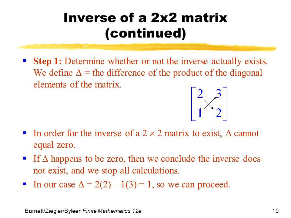Inverse of a 2x2 matrix (continued)
