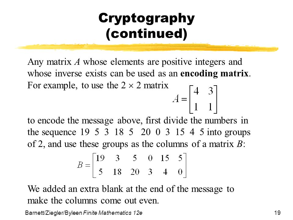 Cryptography (continued)