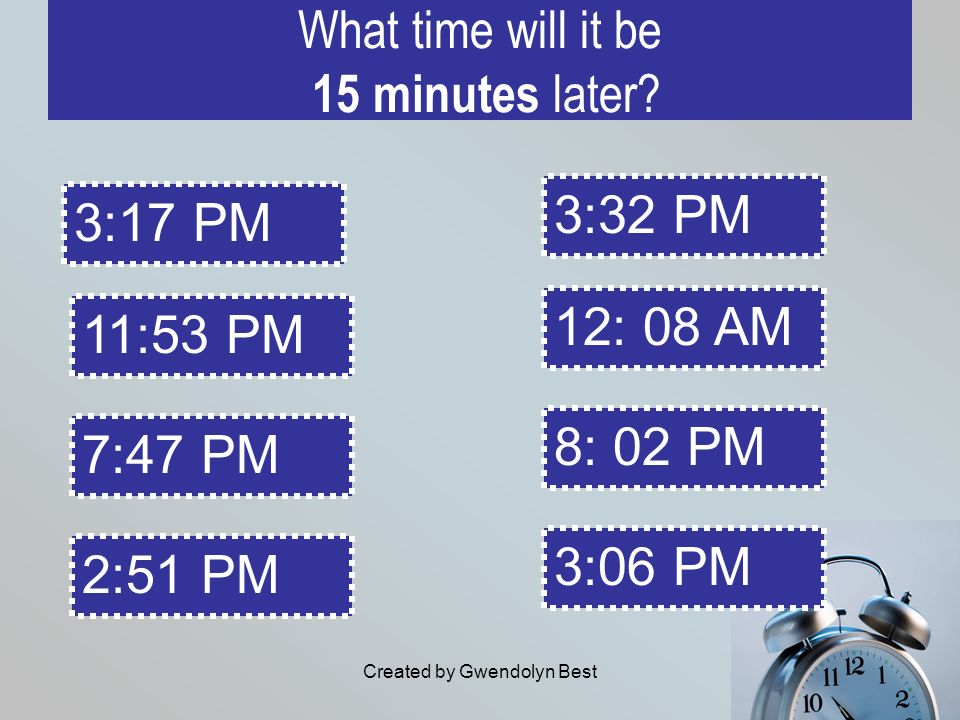What time will it be 15 minutes later