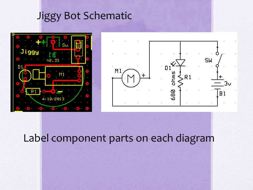 Jiggy Bot Schematic Label component parts on each diagram
