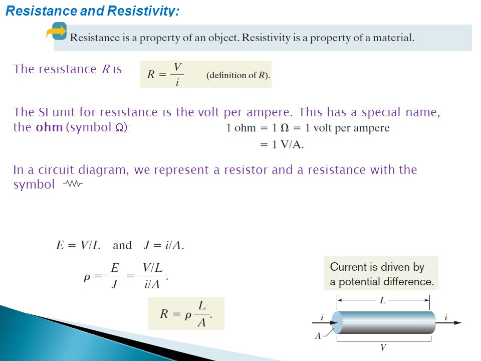 Resistance and Resistivity: