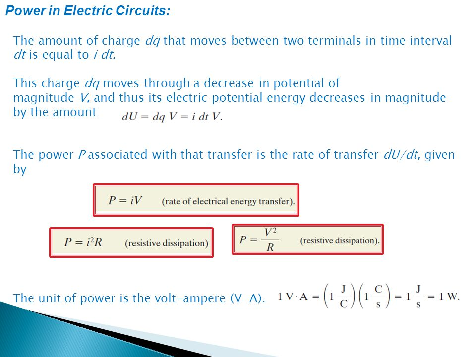 Power in Electric Circuits: