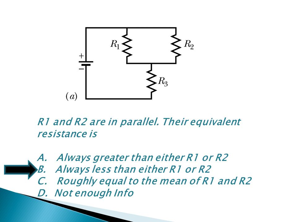 R1 and R2 are in parallel. Their equivalent resistance is