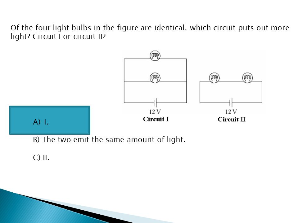 Of the four light bulbs in the figure are identical, which circuit puts out more light Circuit I or circuit II