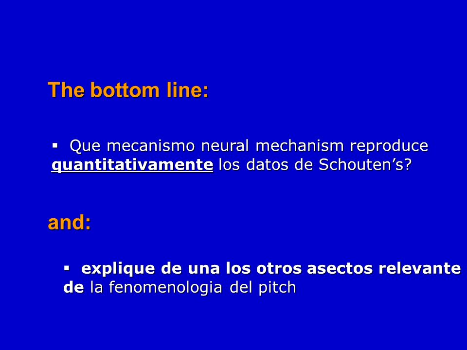The bottom line: Que mecanismo neural mechanism reproduce quantitativamente los datos de Schouten's