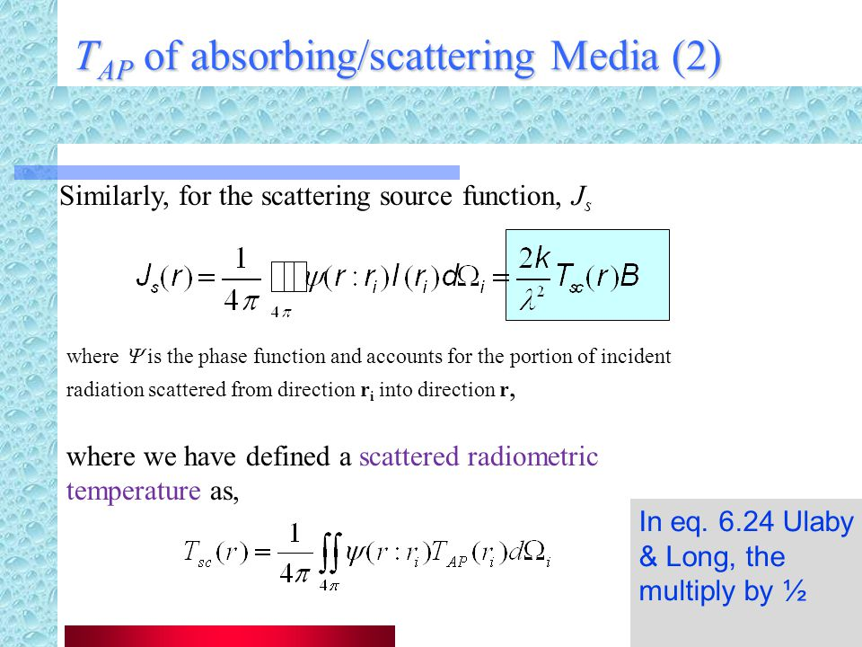 TAP of absorbing/scattering Media (2)