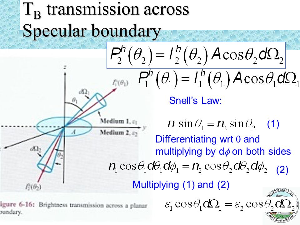 TB transmission across Specular boundary