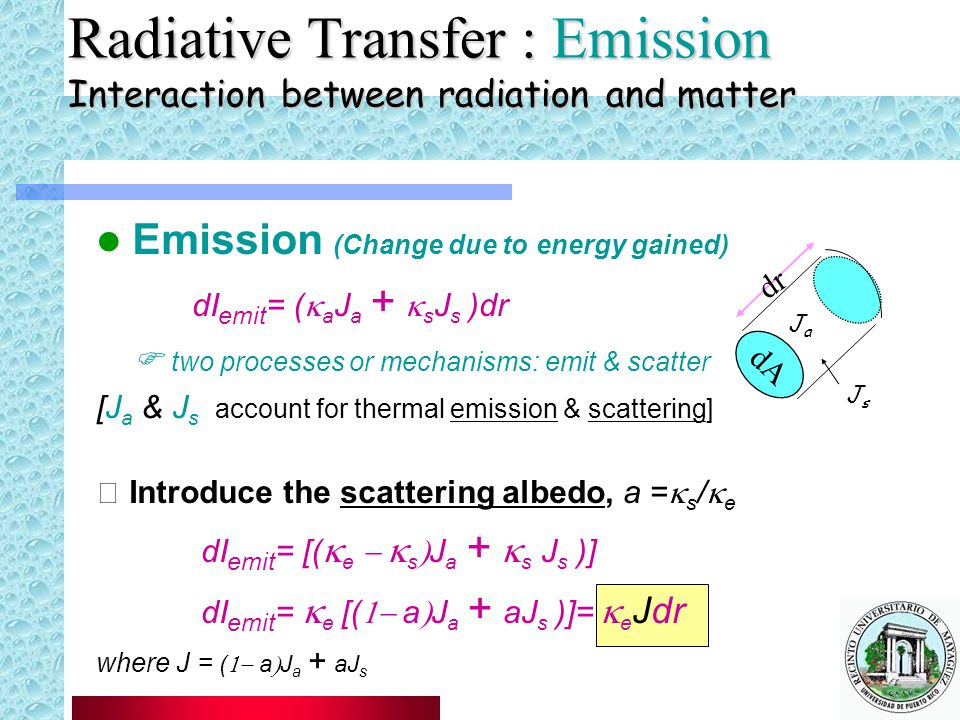 Radiative Transfer : Emission Interaction between radiation and matter