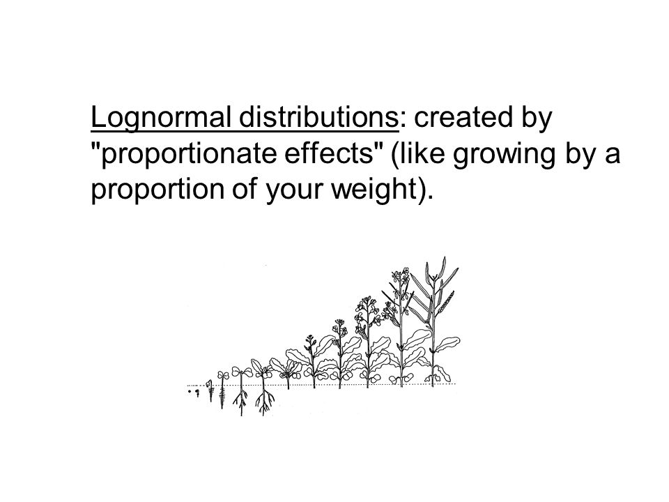 Lognormal distributions: created by proportionate effects (like growing by a proportion of your weight).