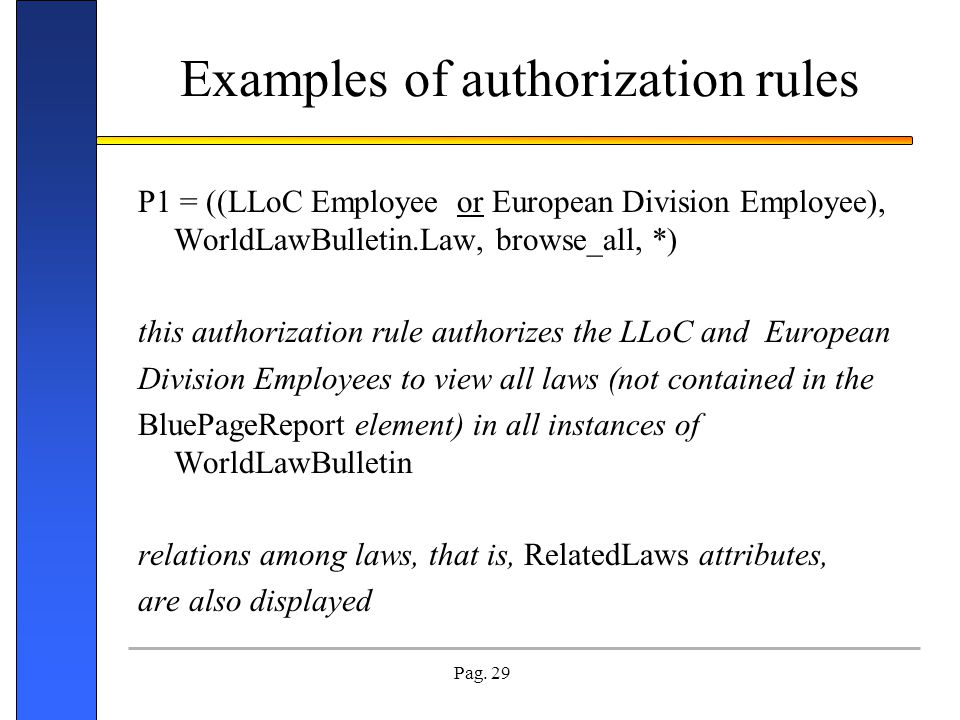 Examples of authorization rules
