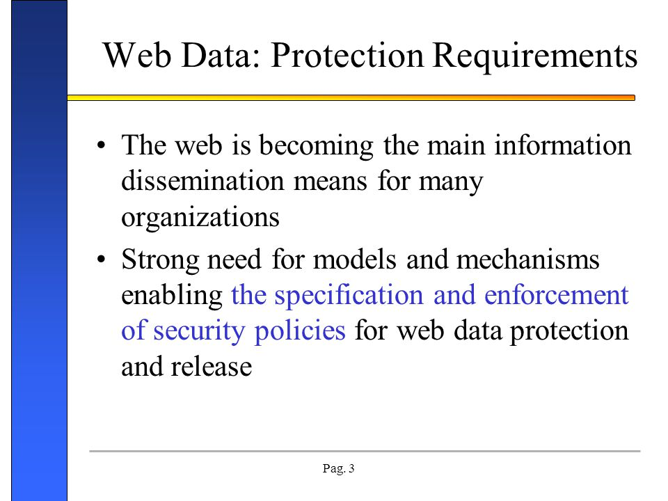 Web Data: Protection Requirements