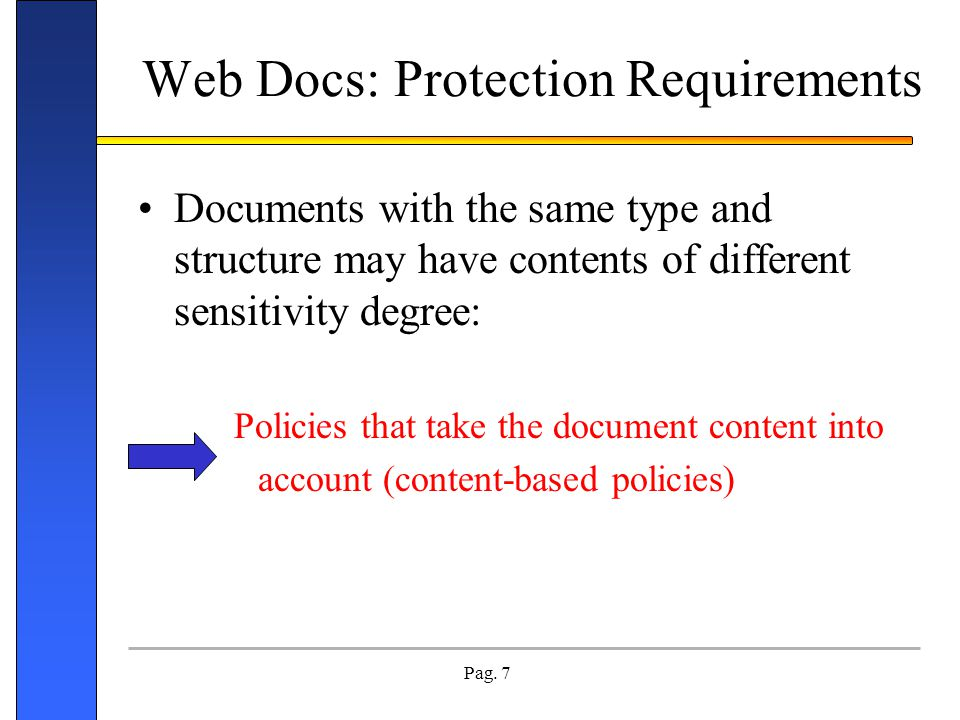 Web Docs: Protection Requirements