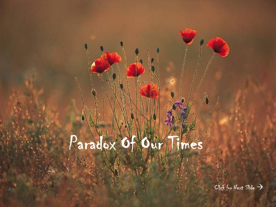 Paradox Of Our Times Click for Next Slide 