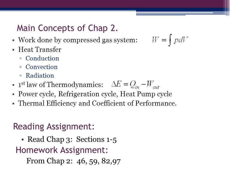 Main Concepts of Chap 2. Reading Assignment: Homework Assignment: