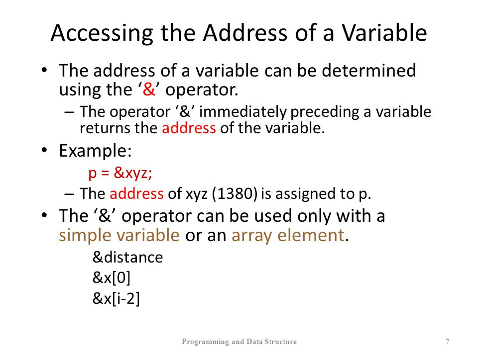 Accessing the Address of a Variable