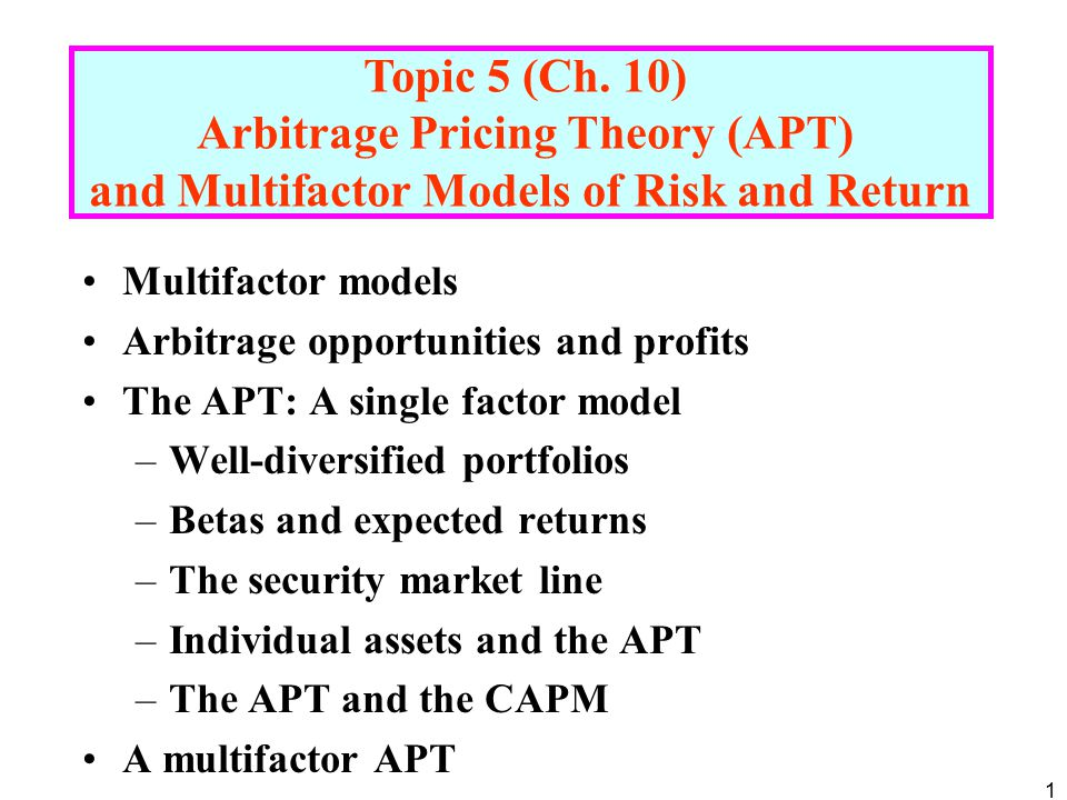 Arbitrage Pricing Theory (APT)