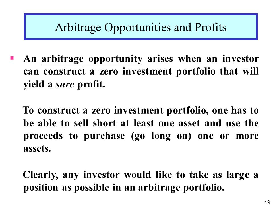 Arbitrage Opportunities and Profits