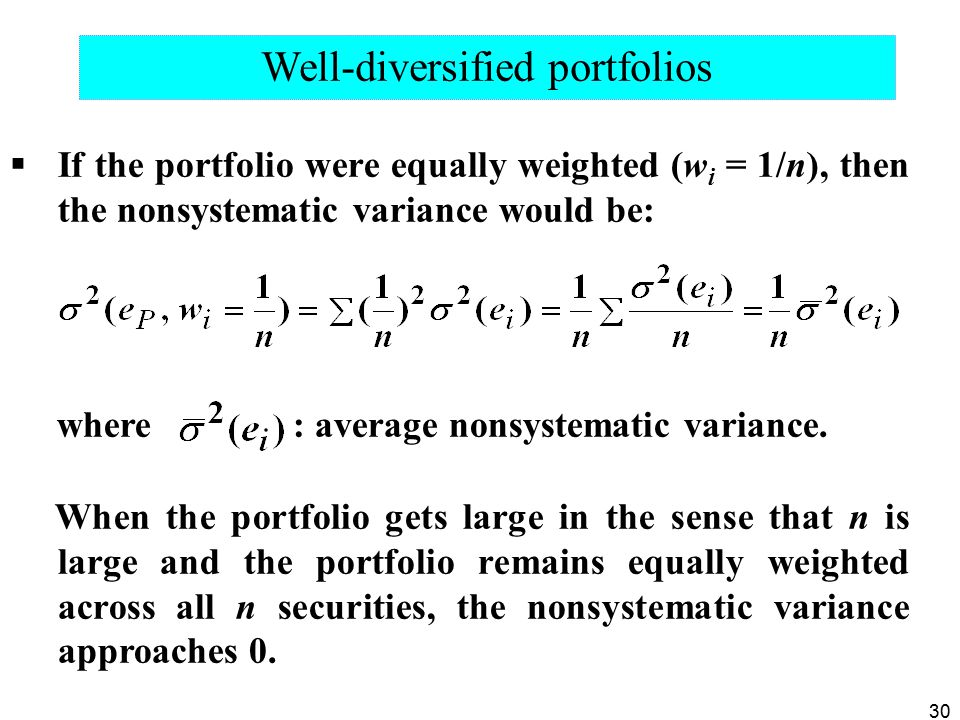 Well-diversified portfolios
