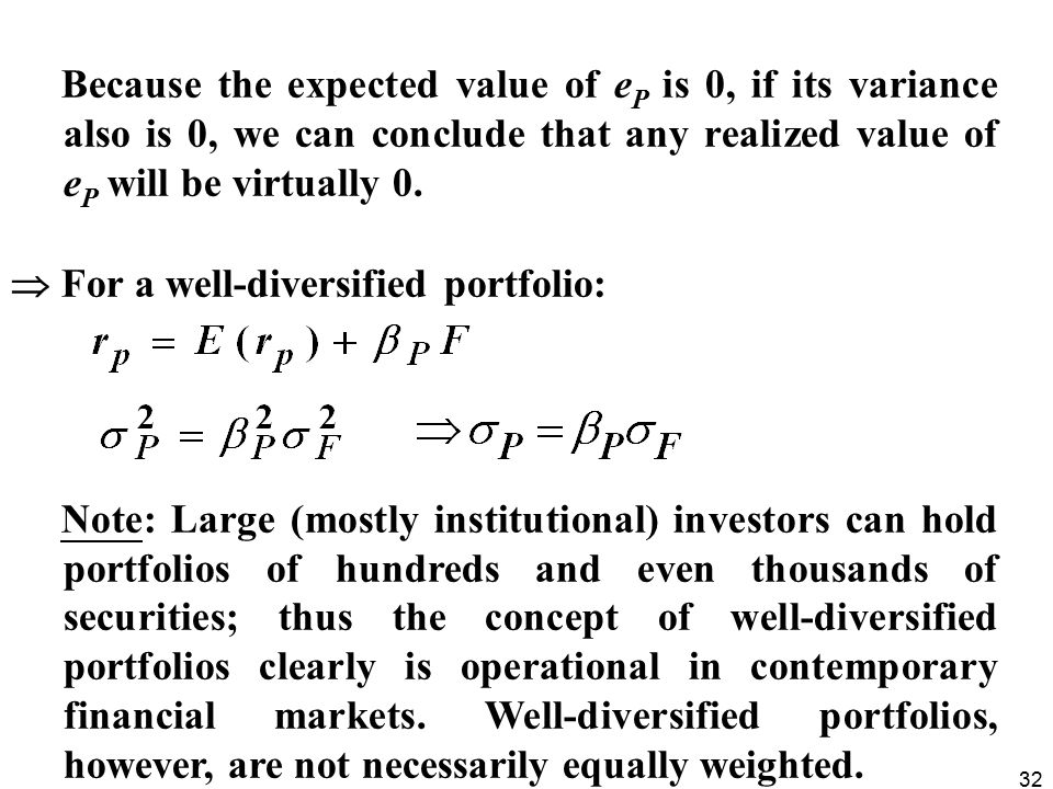 Because the expected value of eP is 0, if its variance also is 0, we can conclude that any realized value of eP will be virtually 0.